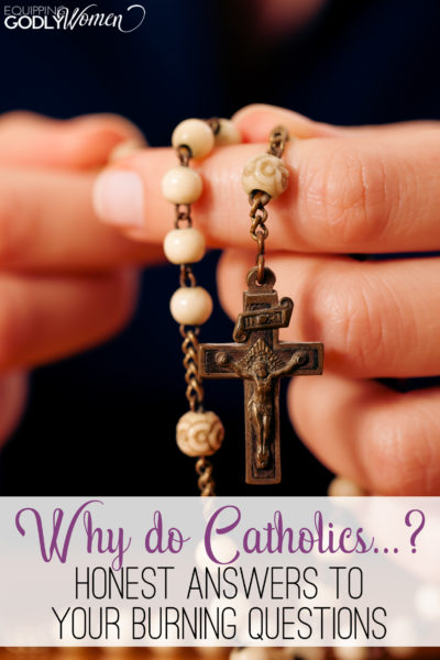 Have you ever wondered 'Why do Catholics pray the rosary, have statues or light candles?' This post answers all your burning questions!