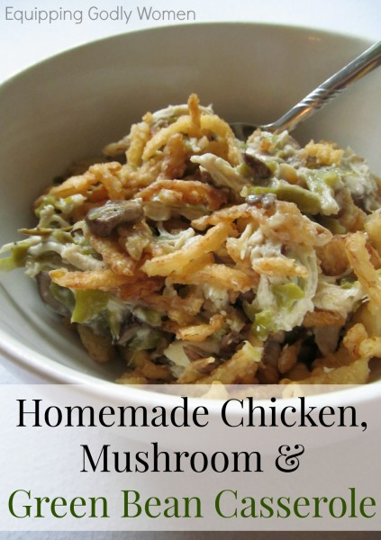 Yum! This Homemade Chicken, Mushroom and Green Bean Casserole Recipe is SO good! It's super easy to make too!