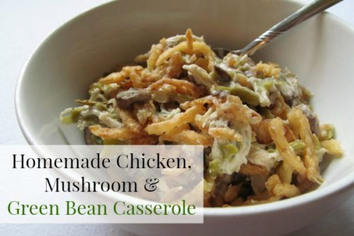 Yum! This Homemade Chicken, Mushroom and Green Bean Casserole is SO good! It's super easy to make too!