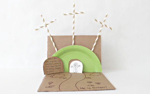 Christian Easter craft ideas using construction paper to make tomb and crosses
