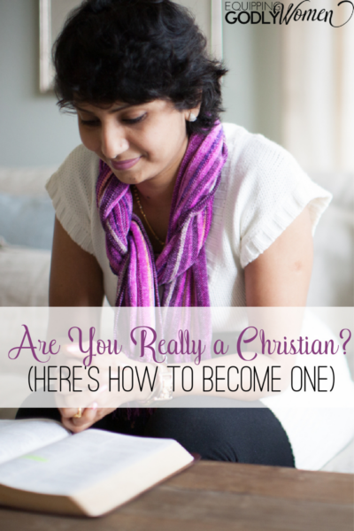 Christian woman learning how to become a Christian by reading the Bible.